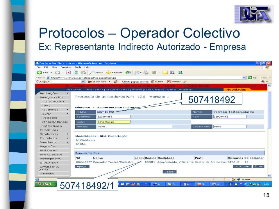 13 Protocolos – Operador Colectivo Ex: Representante Indirecto Autorizado - Empresa 507418492/1 507418492