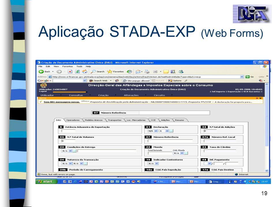 19 Aplicação STADA-EXP (Web Forms)