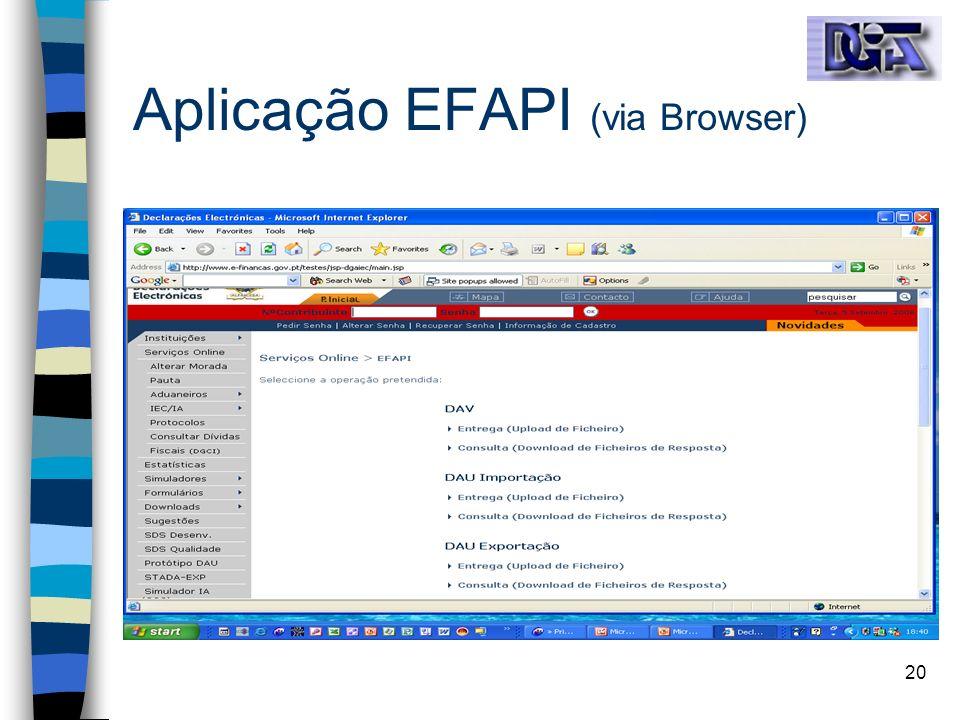 20 Aplicação EFAPI (via Browser)