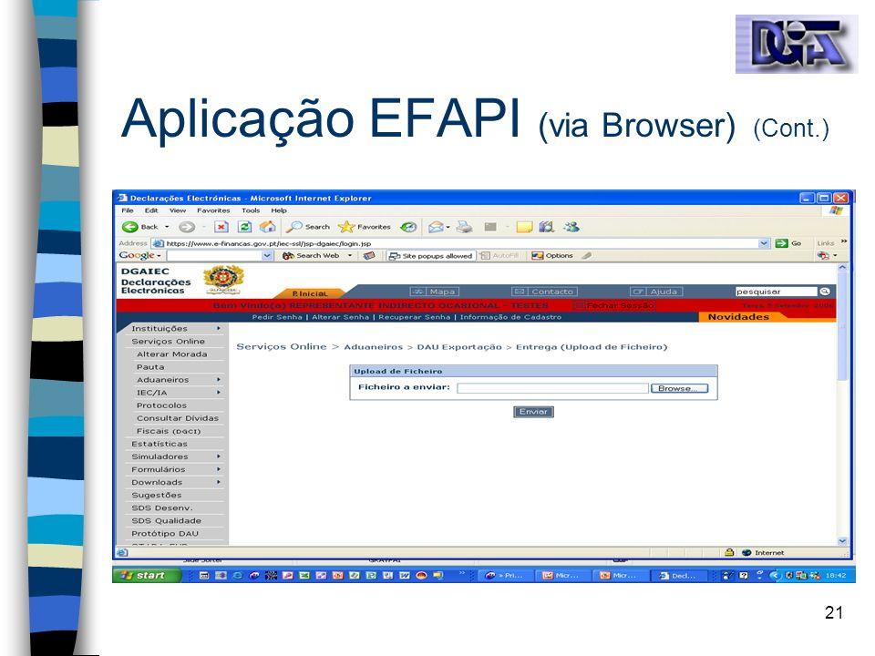 21 Aplicação EFAPI (via Browser) (Cont.)