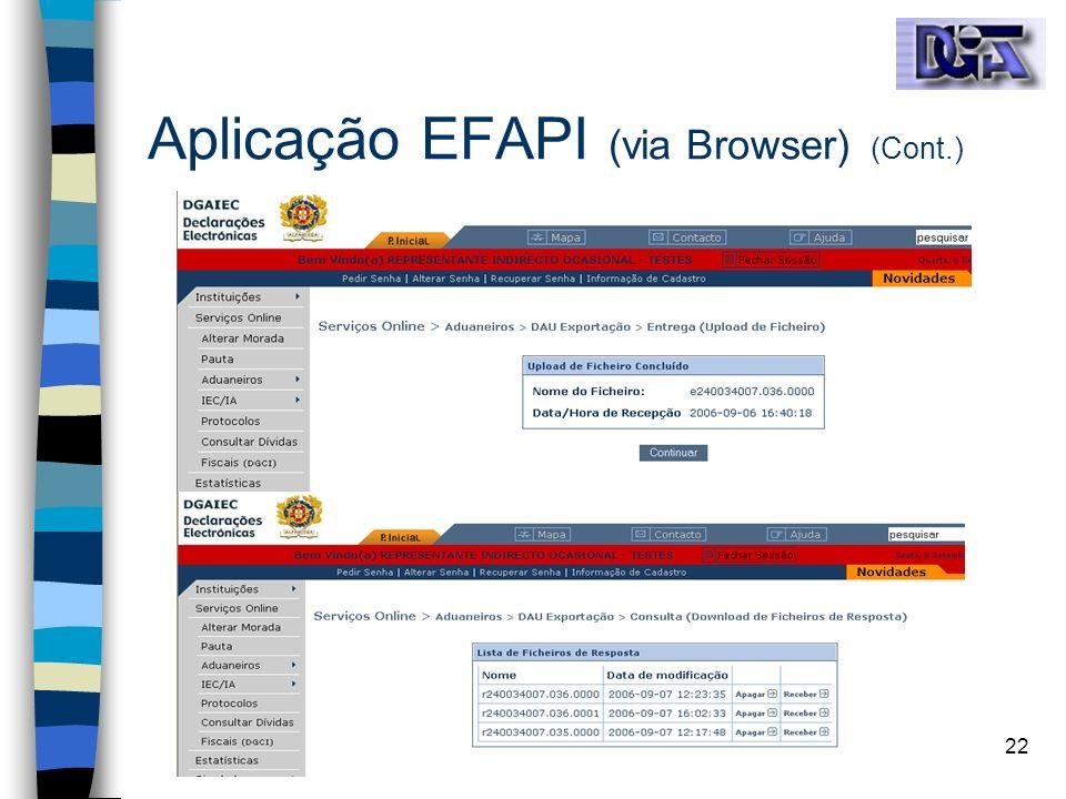 22 Aplicação EFAPI (via Browser) (Cont.)