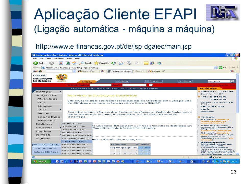 23 Aplicação Cliente EFAPI (Ligação automática - máquina a máquina) http://www.e-financas.gov.pt/de/jsp-dgaiec/main.jsp