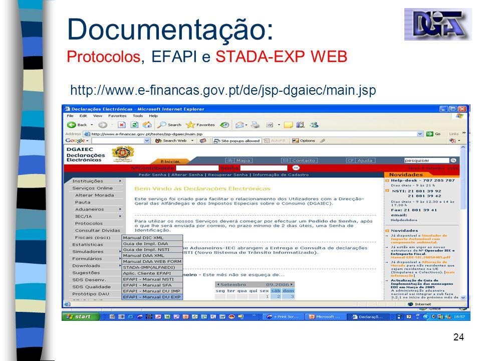 24 Documentação: Protocolos, EFAPI e STADA-EXP WEB http://www.e-financas.gov.pt/de/jsp-dgaiec/main.jsp