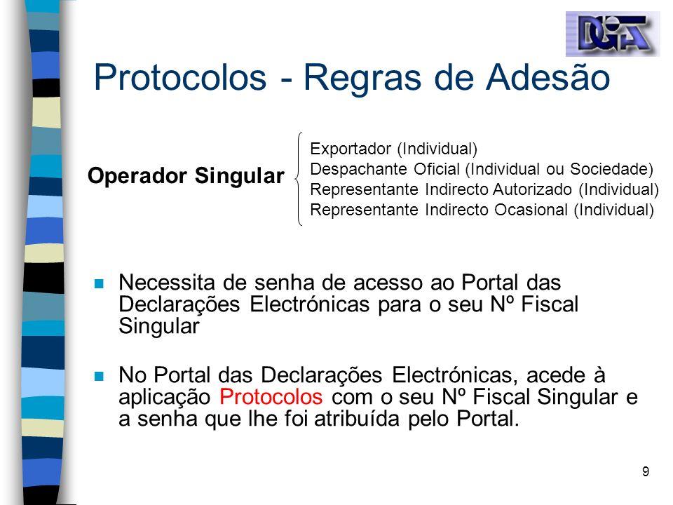 9 Protocolos - Regras de Adesão n Necessita de senha de acesso ao Portal das Declarações Electrónicas para o seu Nº Fiscal Singular n No Portal das De