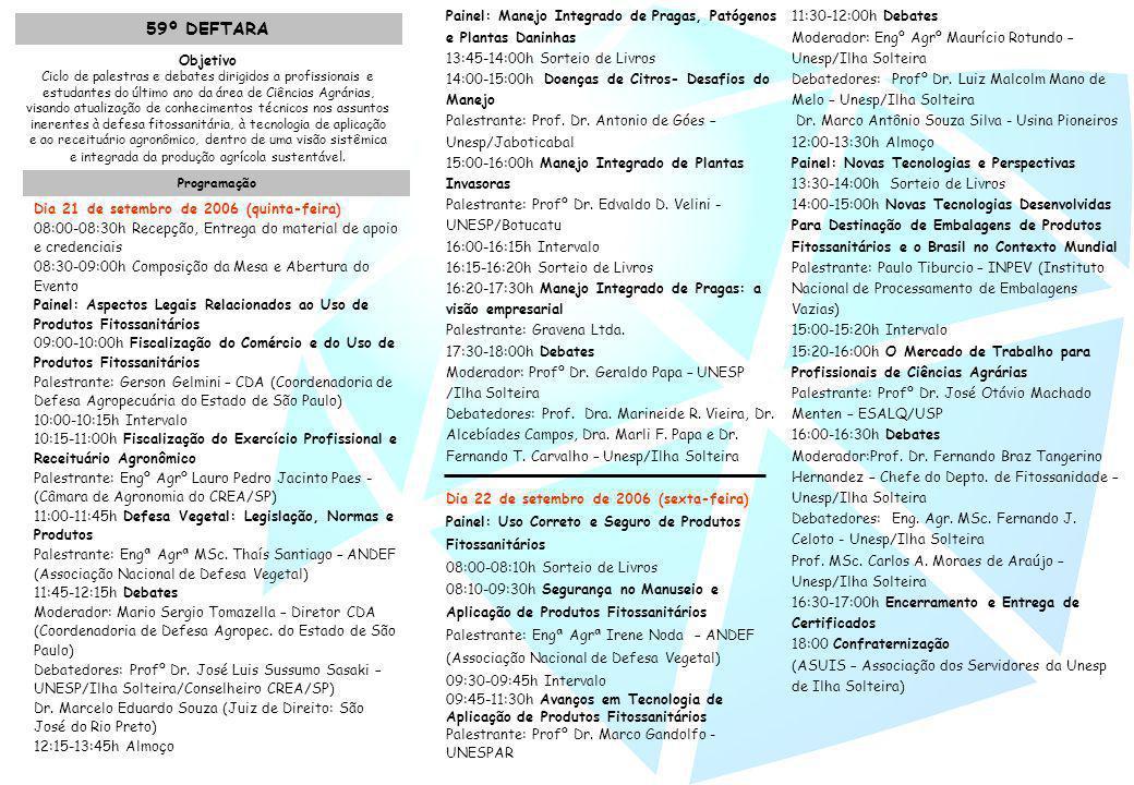 Objetivo Ciclo de palestras e debates dirigidos a profissionais e estudantes do último ano da área de Ciências Agrárias, visando atualização de conhec
