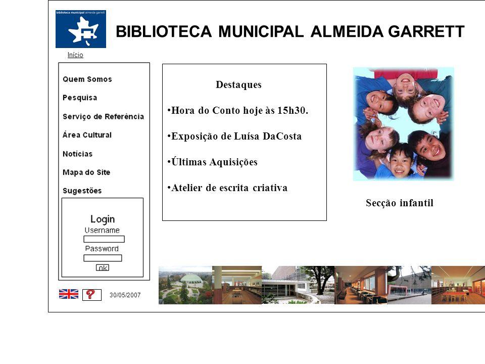 BIBLIOTECA MUNICIPAL ALMEIDA GARRETT Início 30/05/2007 Destaques Hora do Conto hoje às 15h30. Exposição de Luísa DaCosta Últimas Aquisições Atelier de