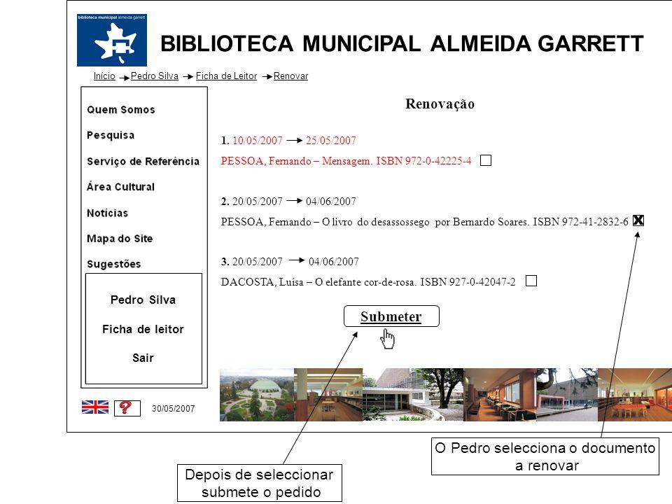 BIBLIOTECA MUNICIPAL ALMEIDA GARRETT Início 30/05/2007 Pedro Silva Ficha de leitor Sair Pedro SilvaFicha de LeitorRenovar Renovação 1. 10/05/2007 25/0