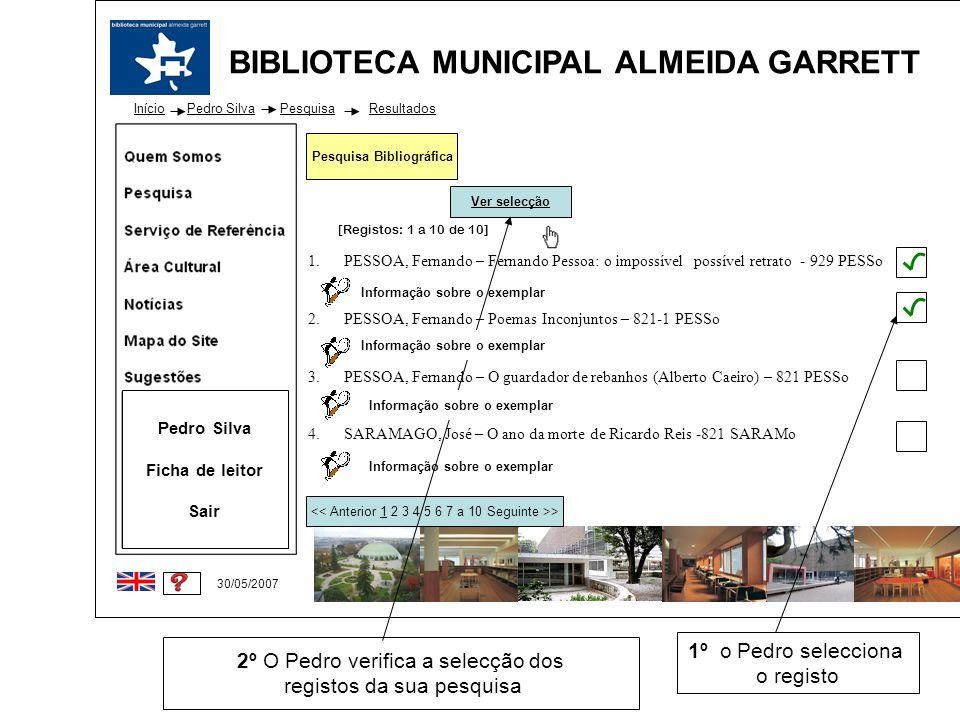 BIBLIOTECA MUNICIPAL ALMEIDA GARRETT Início 30/05/2007 1.PESSOA, Fernando – Fernando Pessoa: o impossível possível retrato - 929 PESSo 2.PESSOA, Ferna