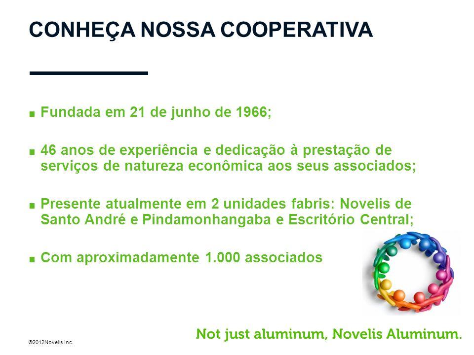 ©2012Novelis Inc. CONHEÇA NOSSA COOPERATIVA Fundada em 21 de junho de 1966; 46 anos de experiência e dedicação à prestação de serviços de natureza eco