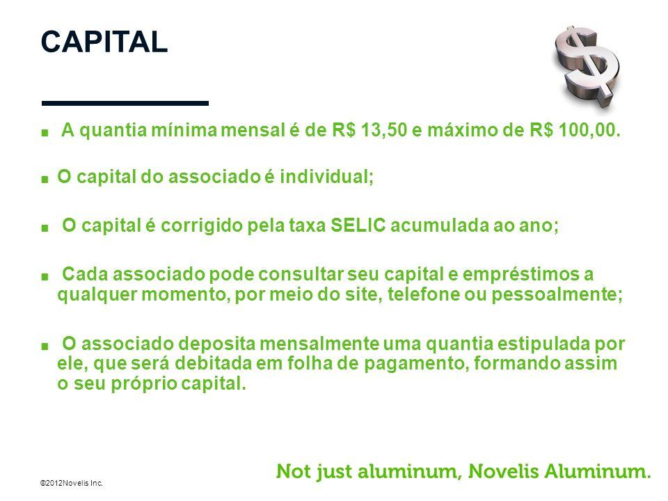 ©2012Novelis Inc. CAPITAL A quantia mínima mensal é de R$ 13,50 e máximo de R$ 100,00. O capital do associado é individual; O capital é corrigido pela