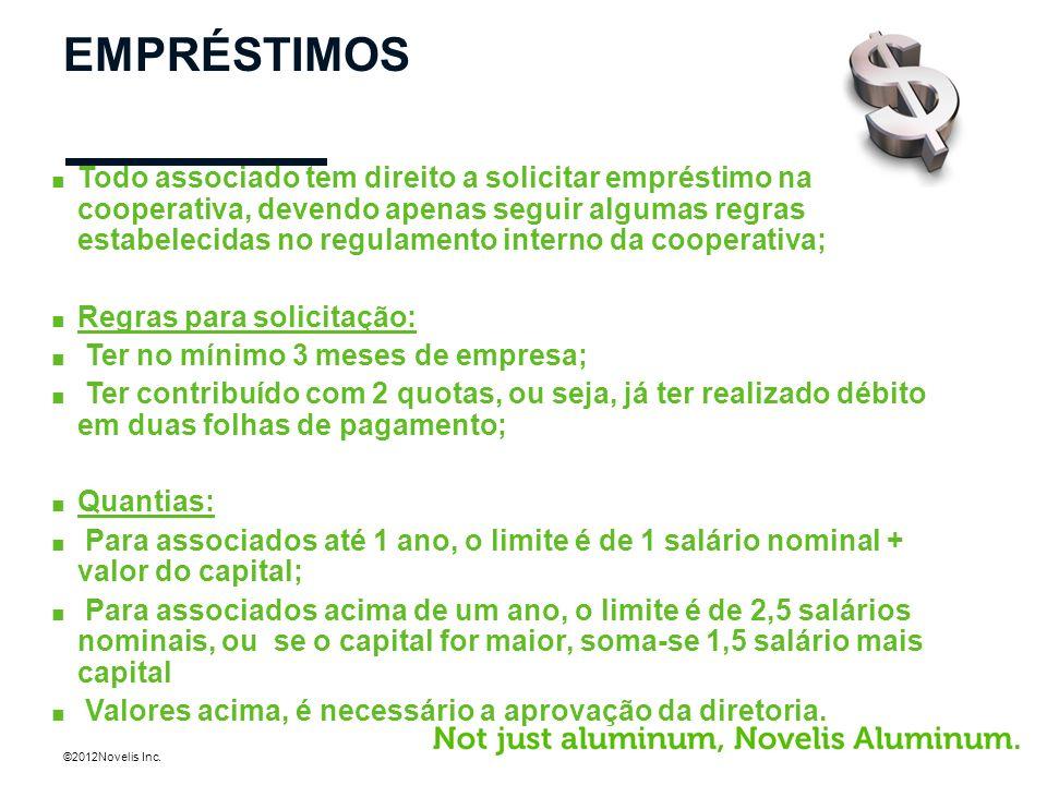 ©2012Novelis Inc. EMPRÉSTIMOS Todo associado tem direito a solicitar empréstimo na cooperativa, devendo apenas seguir algumas regras estabelecidas no