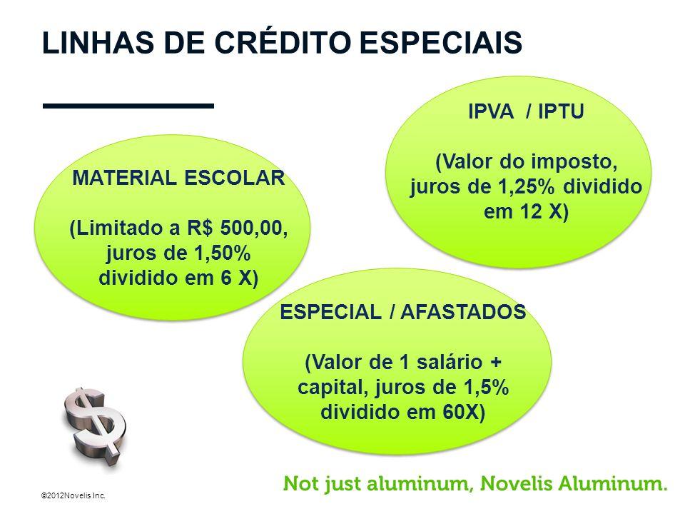 ©2012Novelis Inc. LINHAS DE CRÉDITO ESPECIAIS MATERIAL ESCOLAR (Limitado a R$ 500,00, juros de 1,50% dividido em 6 X) IPVA / IPTU (Valor do imposto, j
