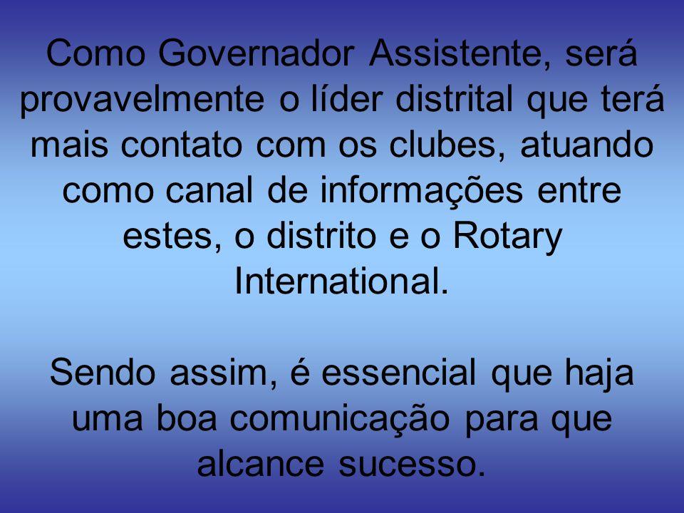 Seus principais contatos serão com: - Líderes Distritais - Governador - Governador Eleito - Governador Indicado - Instrutor Distrital - Comissões Distritais - Outros Governadores Assistentes