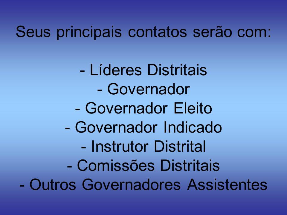 Seus principais contatos serão com: - Líderes Distritais - Governador - Governador Eleito - Governador Indicado - Instrutor Distrital - Comissões Dist