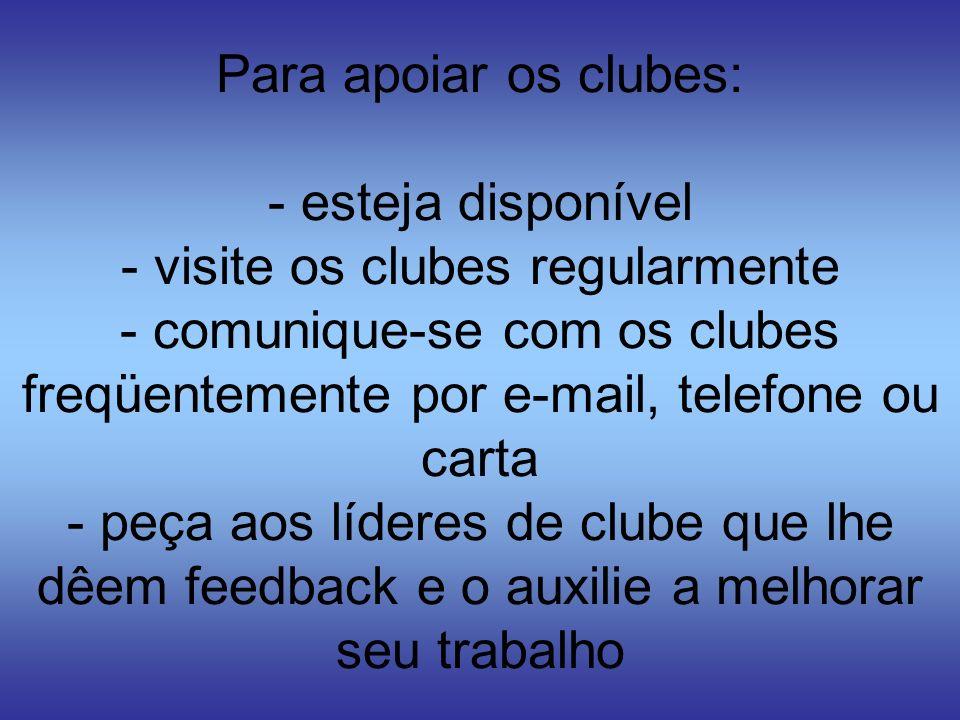 Para apoiar os clubes: - esteja disponível - visite os clubes regularmente - comunique-se com os clubes freqüentemente por e-mail, telefone ou carta -