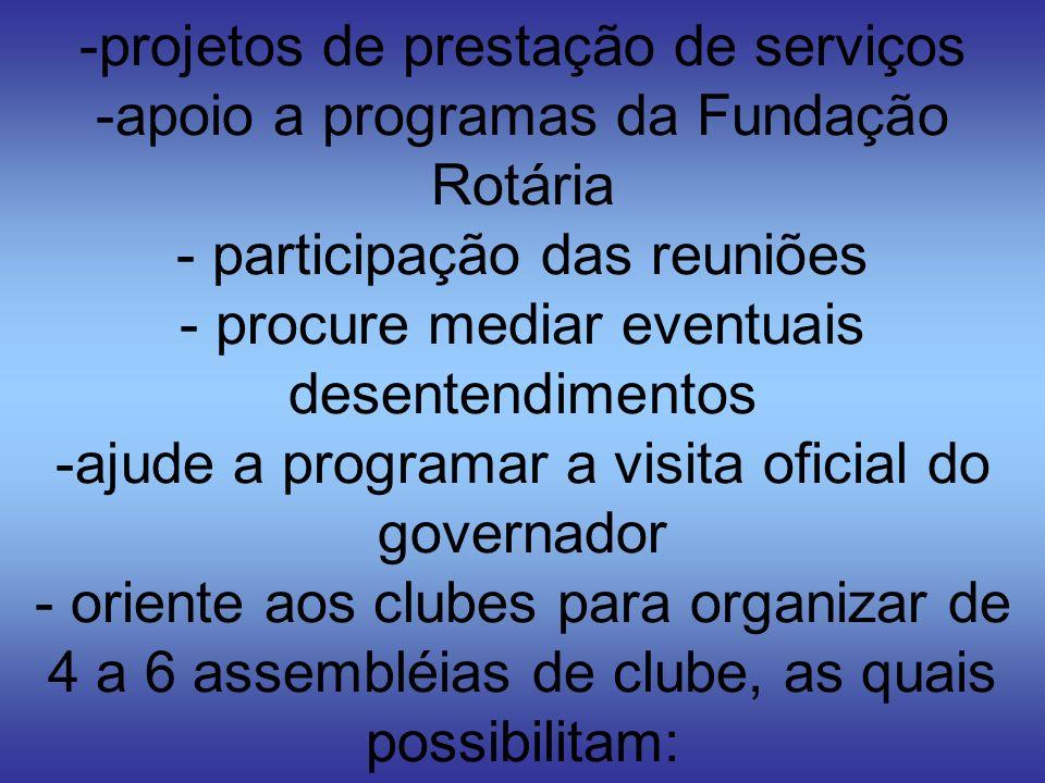 -projetos de prestação de serviços -apoio a programas da Fundação Rotária - participação das reuniões - procure mediar eventuais desentendimentos -aju