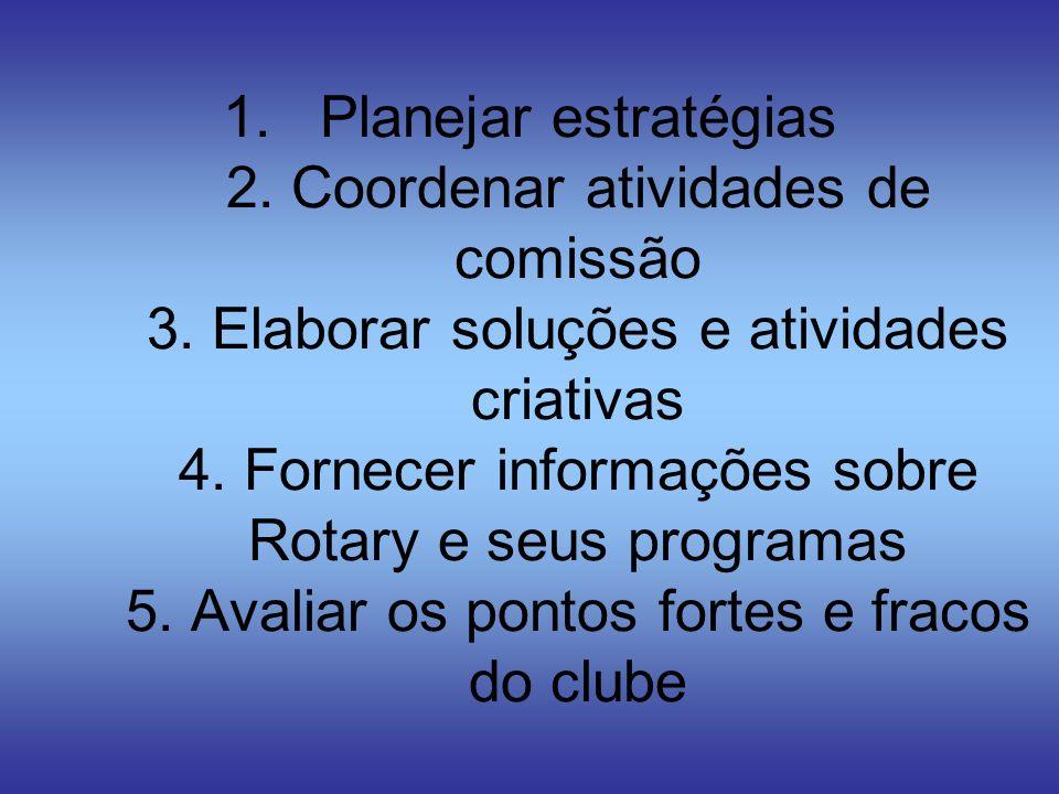 1.Planejar estratégias 2. Coordenar atividades de comissão 3. Elaborar soluções e atividades criativas 4. Fornecer informações sobre Rotary e seus pro