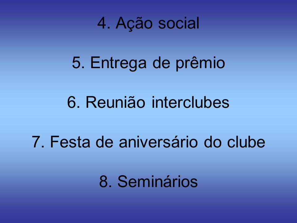 4. Ação social 5. Entrega de prêmio 6. Reunião interclubes 7. Festa de aniversário do clube 8. Seminários