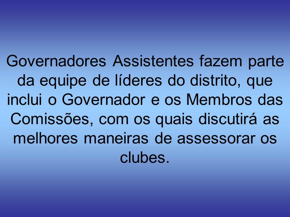Governadores Assistentes fazem parte da equipe de líderes do distrito, que inclui o Governador e os Membros das Comissões, com os quais discutirá as m