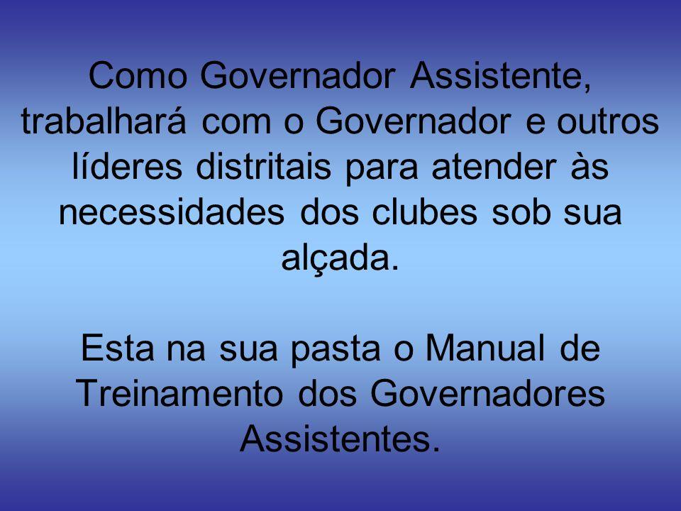 Como Governador Assistente, trabalhará com o Governador e outros líderes distritais para atender às necessidades dos clubes sob sua alçada. Esta na su