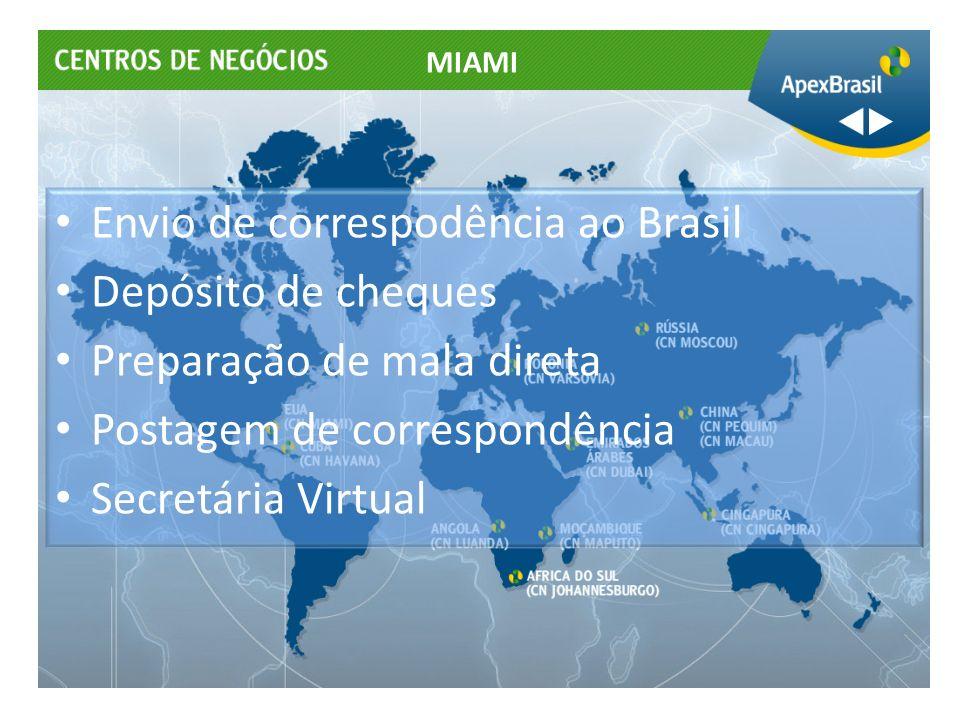 Envio de correspodência ao Brasil Depósito de cheques Preparação de mala direta Postagem de correspondência Secretária Virtual MIAMI