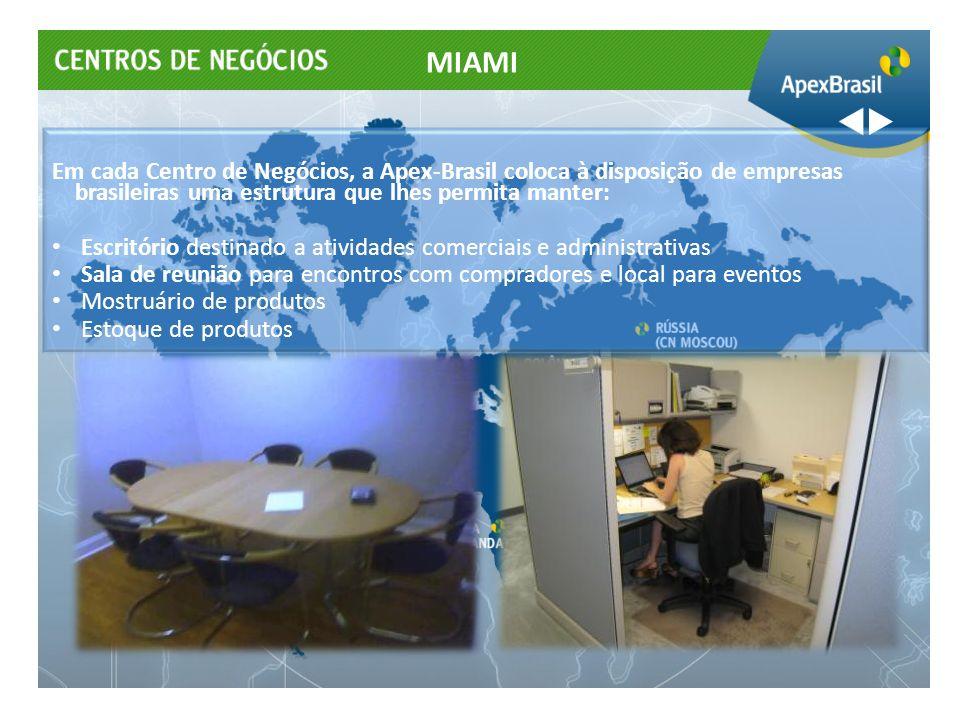 Em cada Centro de Negócios, a Apex-Brasil coloca à disposição de empresas brasileiras uma estrutura que lhes permita manter: Escritório destinado a at