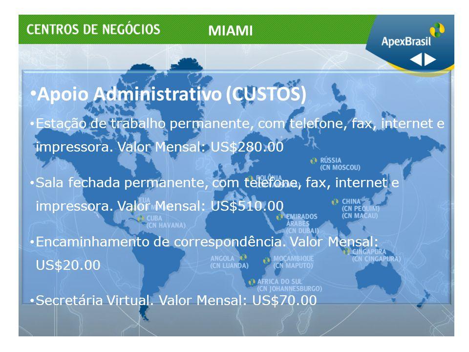 Apoio Administrativo (CUSTOS) Estação de trabalho permanente, com telefone, fax, internet e impressora. Valor Mensal: US$280.00 Sala fechada permanent