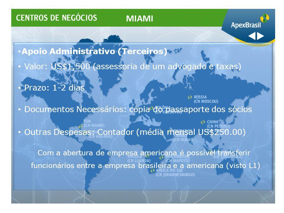 Apoio Administrativo (Terceiros) Valor: US$1,500 (assessoria de um advogado e taxas) Prazo: 1-2 dias Documentos Necessários: cópia do passaporte dos s