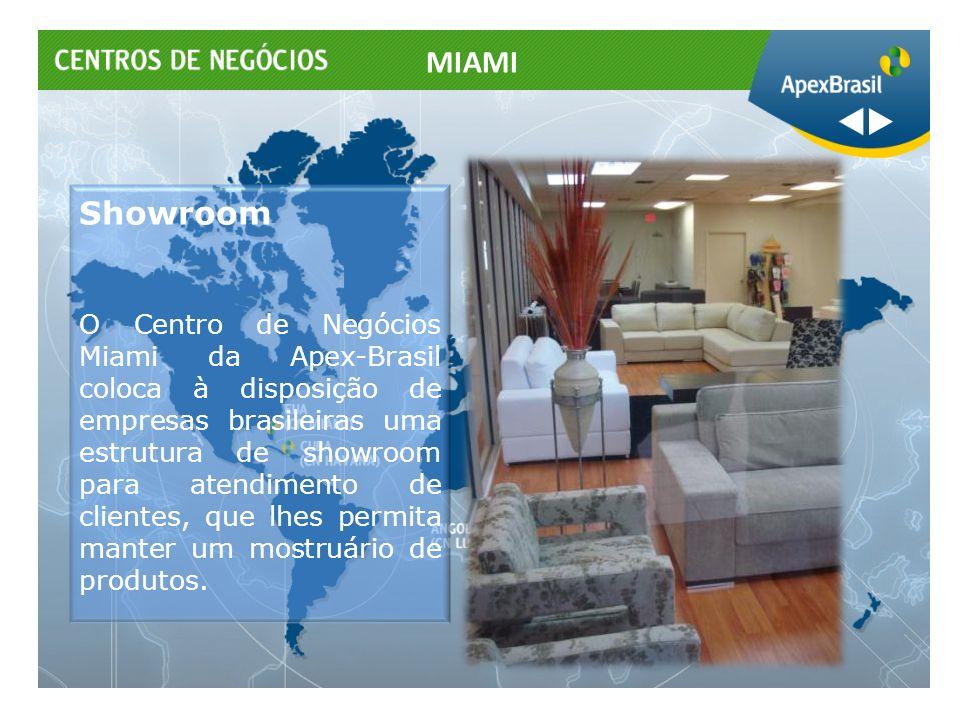 Showroom O Centro de Negócios Miami da Apex-Brasil coloca à disposição de empresas brasileiras uma estrutura de showroom para atendimento de clientes,