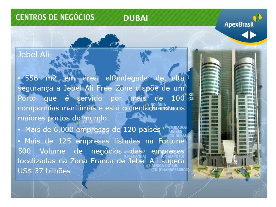 Jebel Ali 556 m2 em área alfandegada de alta segurança a Jebel Ali Free Zone dispõe de um Porto que é servido por mais de 100 companhias marítimas e e