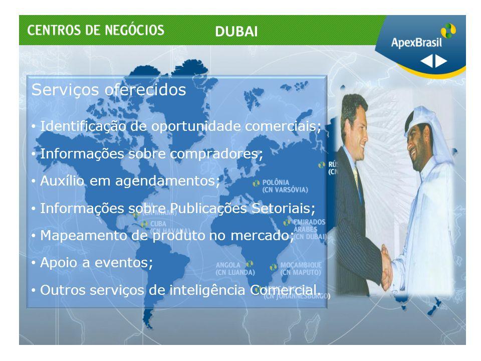 Serviços oferecidos Identificação de oportunidade comerciais; Informações sobre compradores; Auxílio em agendamentos; Informações sobre Publicações Se