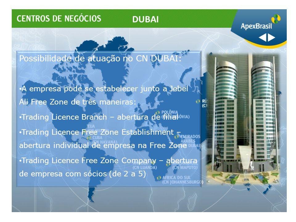 Possibilidade de atuação no CN DUBAI: A empresa pode se estabelecer junto a Jebel Ali Free Zone de três maneiras: Trading Licence Branch – abertura de