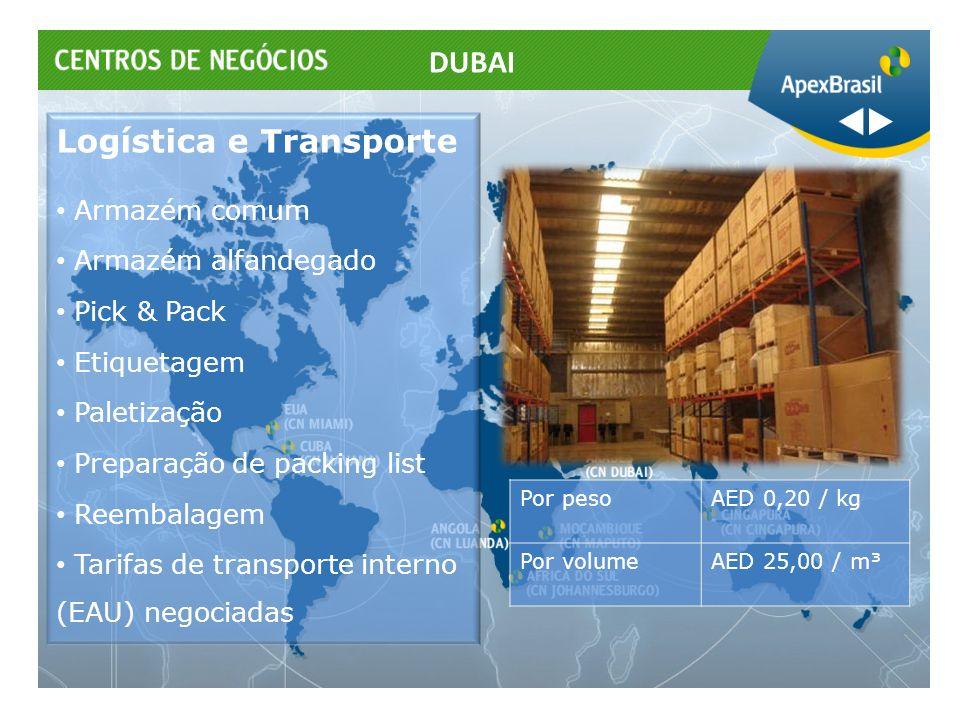 Logística e Transporte Armazém comum Armazém alfandegado Pick & Pack Etiquetagem Paletização Preparação de packing list Reembalagem Tarifas de transpo