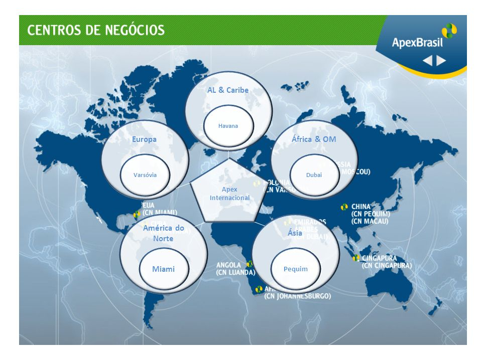 Pesquisa de mercado Plano de negócios Branding Análise da concorrência Estratégia de promoção Branding Reuniões com compradores Rodadas de negócios INTELIGÊNCIA DE MERCADO E BRANDING