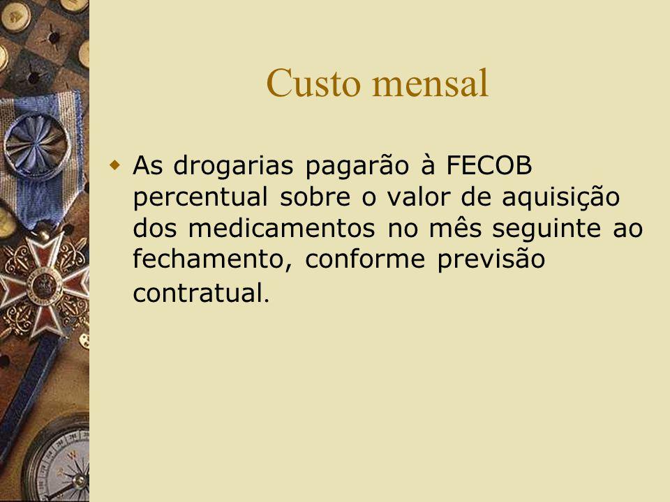 Custo mensal As drogarias pagarão à FECOB percentual sobre o valor de aquisição dos medicamentos no mês seguinte ao fechamento, conforme previsão cont