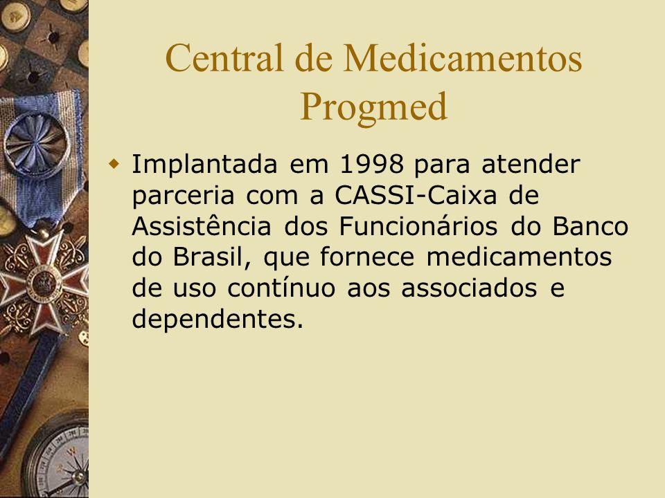 Central de Medicamentos Progmed Implantada em 1998 para atender parceria com a CASSI-Caixa de Assistência dos Funcionários do Banco do Brasil, que for