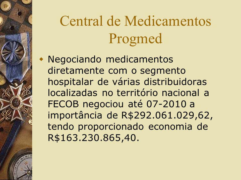 Central de Medicamentos Progmed Negociando medicamentos diretamente com o segmento hospitalar de várias distribuidoras localizadas no território nacio