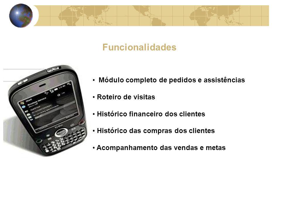 Funcionalidades Módulo completo de pedidos e assistências Roteiro de visitas Histórico financeiro dos clientes Histórico das compras dos clientes Acompanhamento das vendas e metas
