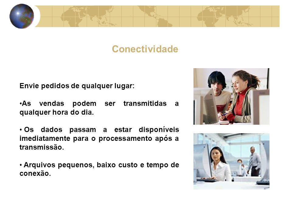 Conectividade Envie pedidos de qualquer lugar: As vendas podem ser transmitidas a qualquer hora do dia.