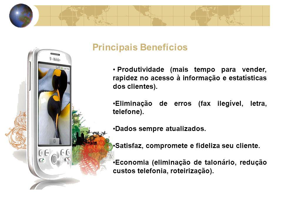 Principais Benefícios Produtividade (mais tempo para vender, rapidez no acesso à informação e estatísticas dos clientes).