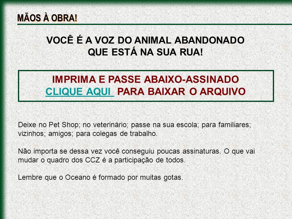 IMPRIMA E PASSE ABAIXO-ASSINADO CLIQUE AQUI PARA BAIXAR O ARQUIVO CLIQUE AQUI VOCÊ É A VOZ DO ANIMAL ABANDONADO QUE ESTÁ NA SUA RUA! Deixe no Pet Shop