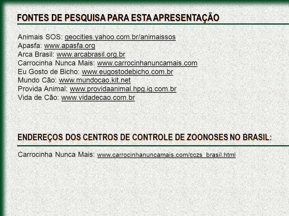 Carrocinha Nunca Mais: www.carrocinhanuncamais.com/cczs_brasil.html ENDEREÇOS DOS CENTROS DE CONTROLE DE ZOONOSES NO BRASIL: FONTES DE PESQUISA PARA E