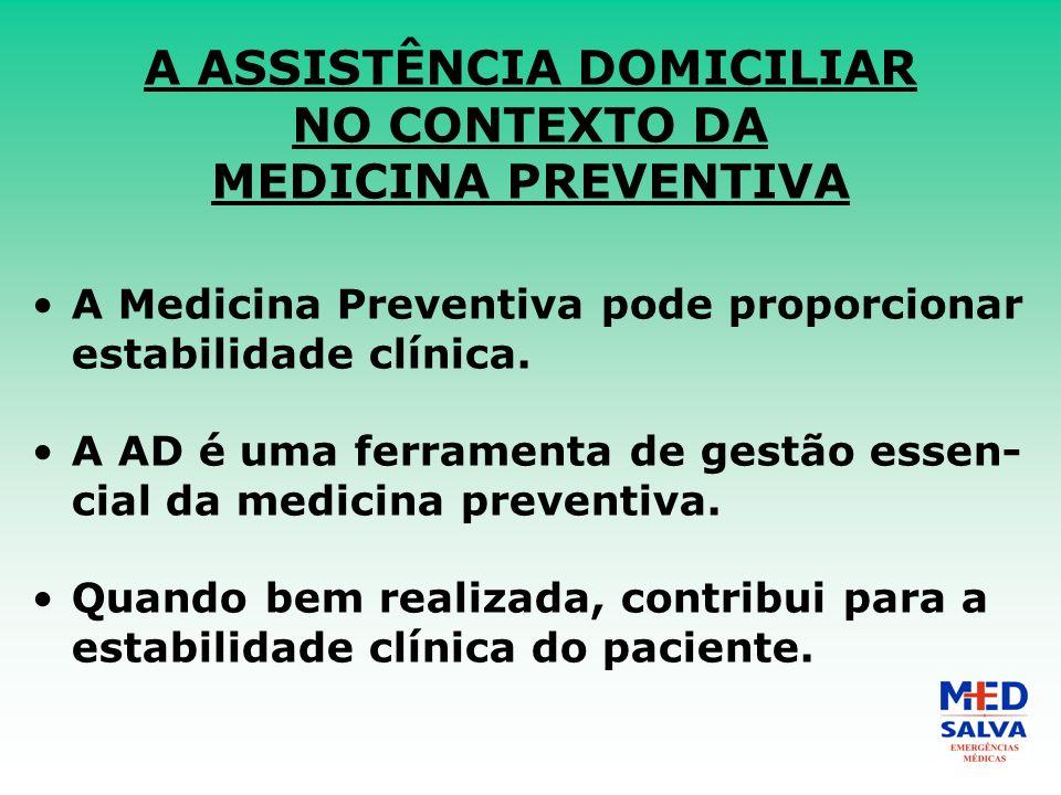 A ASSISTÊNCIA DOMICILIAR NO CONTEXTO DA MEDICINA PREVENTIVA A Medicina Preventiva pode proporcionar estabilidade clínica.