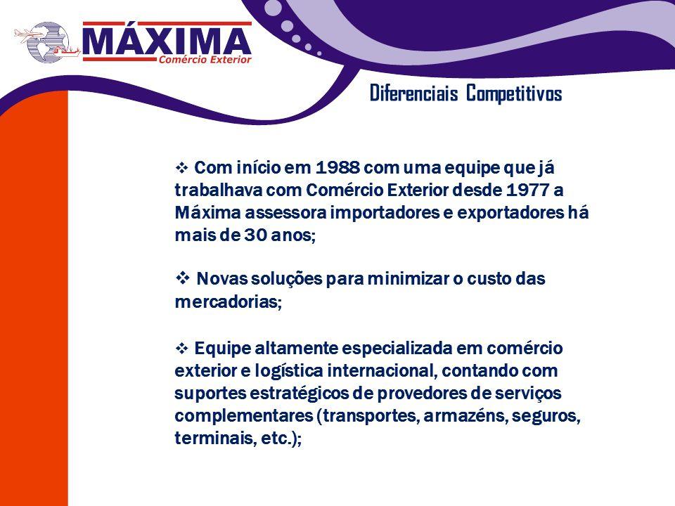 Diferenciais Competitivos Com início em 1988 com uma equipe que já trabalhava com Comércio Exterior desde 1977 a Máxima assessora importadores e expor