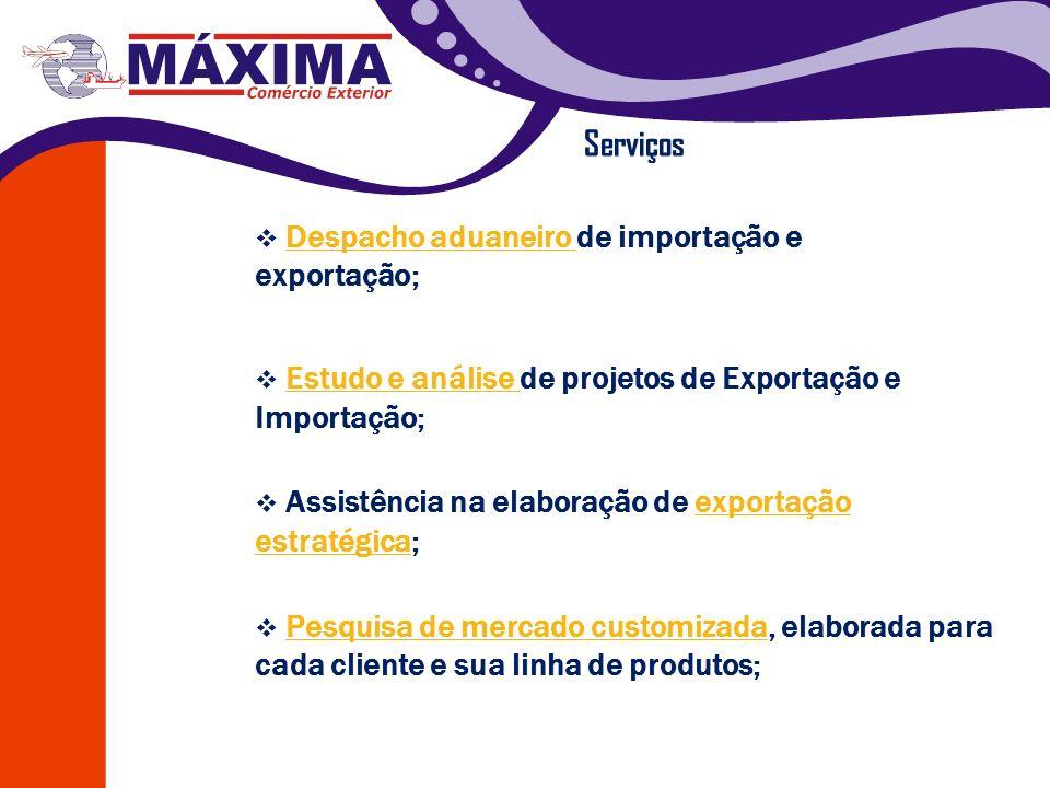 Serviços Estudo e análise de projetos de Exportação e Importação; Estudo e análise Assistência na elaboração de exportação estratégica;exportação estr