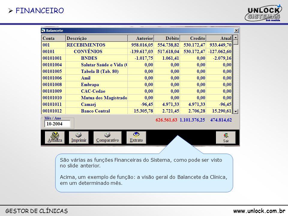 www.unlock.com.br GESTOR DE CLÍNICAS Conforme os usuários usam o sistema, as informações alimentam mapas financeiros, estatísticos, de agenda, de atendimentos, etc, gerados automaticamente, com os mais diversos filtros.