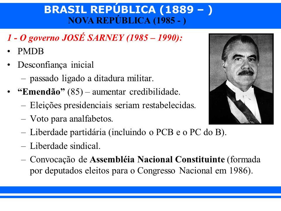 BRASIL REPÚBLICA (1889 – ) NOVA REPÚBLICA (1985 - ) 1 - O governo JOSÉ SARNEY (1985 – 1990): PMDB Desconfiança inicial –passado ligado a ditadura militar.