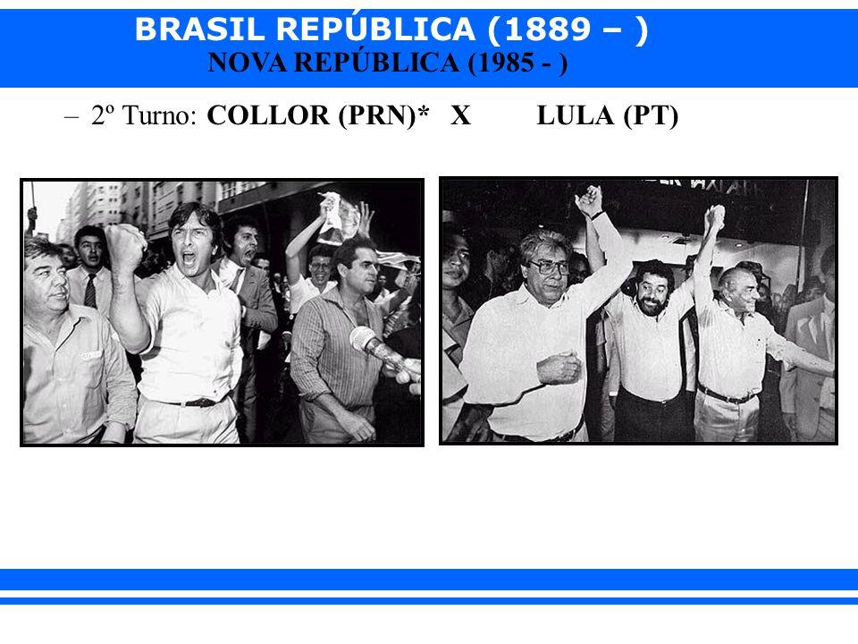 BRASIL REPÚBLICA (1889 – ) NOVA REPÚBLICA (1985 - ) 2 - O governo FERNANDO COLLOR DE MELLO (1990 – 1992): Caçador de Marajás Discurso: COLLOR = novo, moderno.