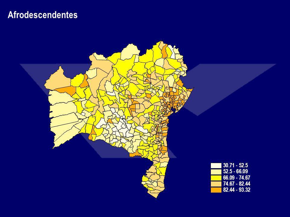 Afrodescendentes 30.71 - 52.5 52.5 - 66.09 66.09 - 74.67 74.67 - 82.44 82.44 - 93.32