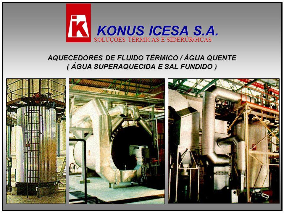 AQUECEDORES DE FLUIDO TÉRMICO / ÁGUA QUENTE ( ÁGUA SUPERAQUECIDA E SAL FUNDIDO ) KONUS ICESA S.A. SOLUÇÕES TÉRMICAS E SIDERÚRGICAS